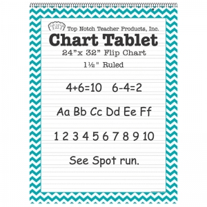 TEAL CHEVRON BORDER CHART TABLET  24X32 1 1/2IN RULED
