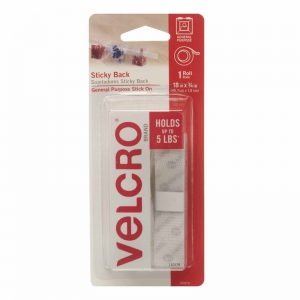 "Velcro Sticky Back Tape, 3/4"" x x18"" Strips, White, 1/pkg"
