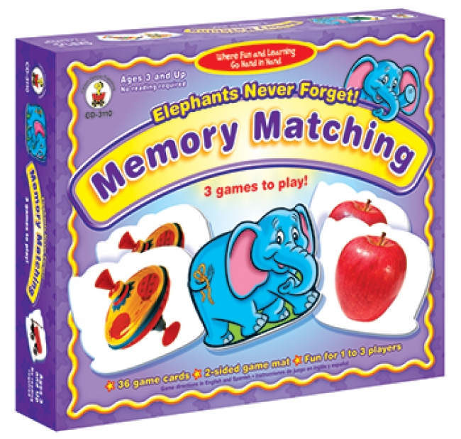 GAME ELEPHANTS NEVER FORGET  AGES 3 & UP MEMORY MATCHING