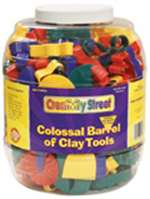 COLOSSAL BARREL OF CLAY TOOLS  144 CUTTERS & 5 TOOLS