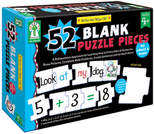 WRITE-ON/WIPE-OFF 52 BLANK PUZZLE  PIECES