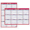 Erasable Vertical/Horizontal Wall Planner, 24 x 36, Blue/Red, 2017