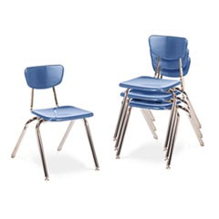 "3000 Series Classroom Chairs, 16"" Seat Height, Blueberry, 4/Carton"