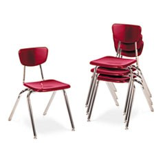 "3000 Series Classroom Chairs, 18"" Seat Height, Red, 4/Carton"