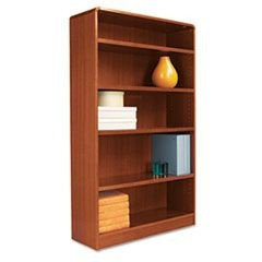 Radius Corner Wood Bookcase, Five-Shelf, 35-5/8w x 11-3/4d x 60h, Medium Cherry