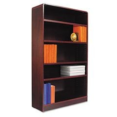 Radius Corner Wood Veneer Bookcase, Five-Shelf, 35-5/8 x 11-3/4 x 60, Mahogany
