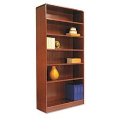 Radius Corner Wood Bookcase, Six-Shelf, 35-5/8w x 11-3/4d x 72h, Medium Cherry