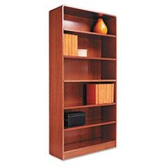 Radius Corner Wood Veneer Bookcase, Six-Shelf, 35-5/8 x 11-3/4 x 72, Medium Oak