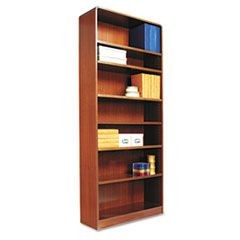 Radius Corner Wood Bookcase, Seven-Shelf, 35-5/8 x 11-3/4 x 84, Medium Cherry