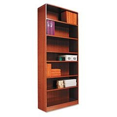 Radius Corner Wood Bookcase, Seven-Shelf, 35-5/8w x 11-3/4d x 84h, Medium Oak