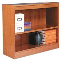 Square Corner Wood Veneer Bookcase, Two-Shelf, 35-5/8 x 11-3/4 x 30, Medium Oak