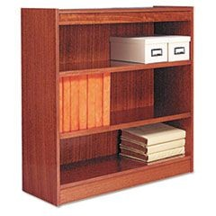 Square Corner Wood Bookcase, Three-Shelf, 35-5/8 x 11-3/4 x 36, Medium Oak
