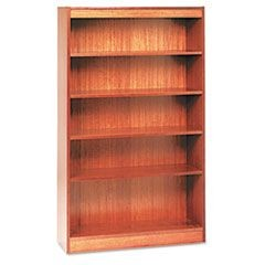 Square Corner Wood Veneer Bookcase, Five-Shelf, 35-5/8 x 11-3/4 x 60, Medium Oak