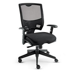 Alera Epoch Series Fabric Mesh Multifunction Chair, Supports up to 275 lbs., Black Seat/Black Back, Black Base