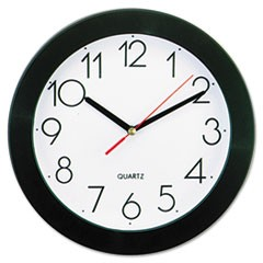 "Round Wall Clock, 9 3/4"", Black"