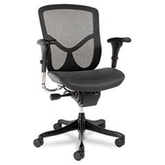 Alera EQ Series Ergonomic Multifunction Mid-Back Mesh Chair, Supports up to 250 lbs., Black Seat/Black Back, Black Base
