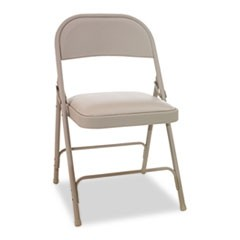 Steel Folding Chair with Two-Brace Support, Tan Seat/Tan Back, Tan Base, 4/Carton