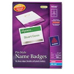 Badge Holder Kit w/Laser/Inkjet Insert, Top Load, 3 x 4, White, 100/Box