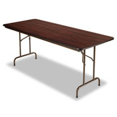 Wood Folding Table, Rectangular, 72w x 30d x 29h, Mahogany