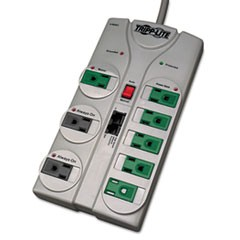 TLP808NETG Eco Surge Green, 8 Outlets, 8 ft Cord, 2160 Joules, Gray