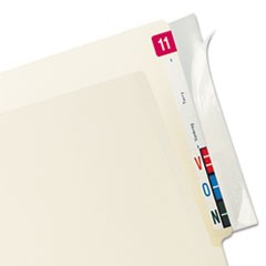 Self-Adhesive Label/File Folder Protector, End Tab, 2 x 8, Clear, 100/Box
