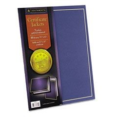 Certificate Jacket, Navy w/Gold Border, 88 lbs., 9-1/2 x 12, 5/Pack