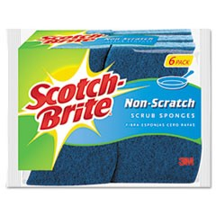 Non-Scratch Multi-Purpose Scrub Sponge, 4 2/5 x 2 3/5, Blue, 6/Pack