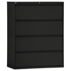 Four-Drawer Lateral File Cabinet, 42w x 19-1/4d x 53-1/4h, Black