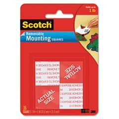 "Precut Foam Mounting 1"" Squares, Double-Sided, Removable, 16/Pack"
