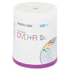 Inkjet Printable DVD+R Discs, 4.7GB, 16x, Spindle, Matte White, 100/Pack