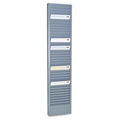 "40-Pocket Steel Swipe Card/Badge Rack, 4-1/8"" x 18-11/16"""
