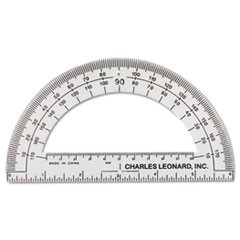 "Open Center Protractor, Plastic, 6"" Ruler Edge, Clear"
