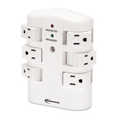 Wall Mount Surge Protector, 6 Outlets, 2160 Joules, White