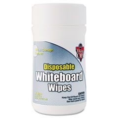 Disposable White Board Wipes, 6 x 6 1/2, White, 80/Canister