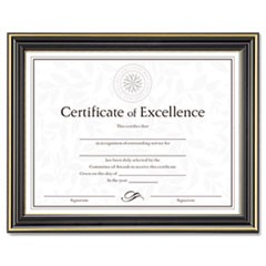 Gold-Trimmed Document Frame w/Certificate, Wood, 8 1/2 x 11, Black