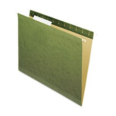 X-Ray Hanging File Folders, No Tabs, Letter, Standard Green, 25/Box