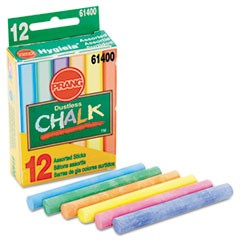 Hygieia Dustless Board Chalk, 3 1/4 x 0.38. Assorted, 12/Box