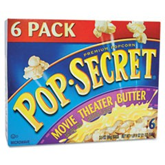 Microwave Popcorn, Movie Theater Butter, 3.2oz Bags, 6/Box