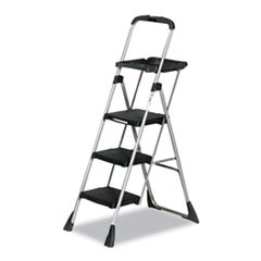 Max Work Platform Project Ladder, 225lbs Duty Rating, 22wx31dx55h, Steel, Black