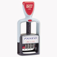 "Two-Color Message Dater, 1 3/4 x 1, ""Faxed,"" Self-Inking, Blue/Red"