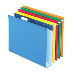 "Reinforced 2"" Extra Capacity Hanging Folders, 1/5 Tab, Letter, Assorted, 25/Box"