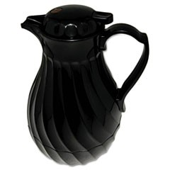 1Poly Lined Carafe, Swirl Design, 40oz Capacity, Black