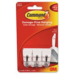 General Purpose Hooks, Small, Holds 1lb, White, 3 Hooks & 6 Strips/Pack
