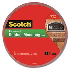 "Exterior Weather-Resistant Double-Sided Tape, 1"" x 450"", Gray w/Red Liner"