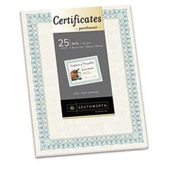 Parchment Certificates, Ivory w/Green & Blue Border, 24 lbs., 8-1/2 x 11, 25/PK