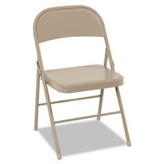 All Steel Folding Chair, Steel, 18-1/4w x 19d x 30h, Antique Linen, 4/Carton