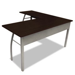 Trento Line L-Shaped Desk, 59-1/8w x 59-1/8d x 29-1/2h, Mocha/Gray