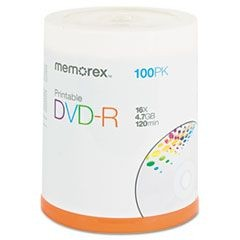 Inkjet Printable DVD-R Discs, 4.7GB, 16x, Spindle, Matte White, 100/Pack