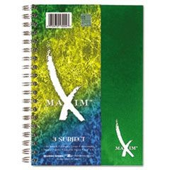 Maxim Notebook, College Rule, 6 1/2 x 9 1/2, 3 Subject, 138 Sheets, Assorted