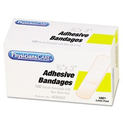 "First Aid Plastic Bandages, 3/4"" x 3"", 100/Box"